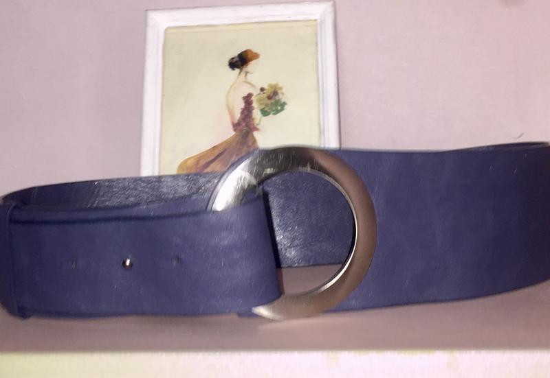 Пояс ремень широкий темно синий с серебристой пряжкой