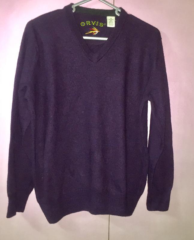 Очень мягкий и тёплый свитер джемпер 100% шерсть мериноса фиол...