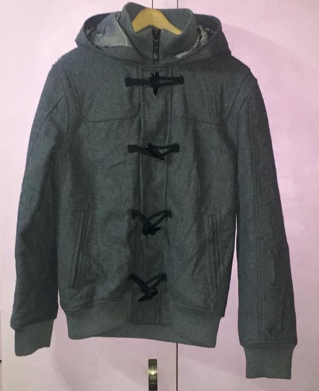 Шерстяная мужская куртка пальто серого цвета