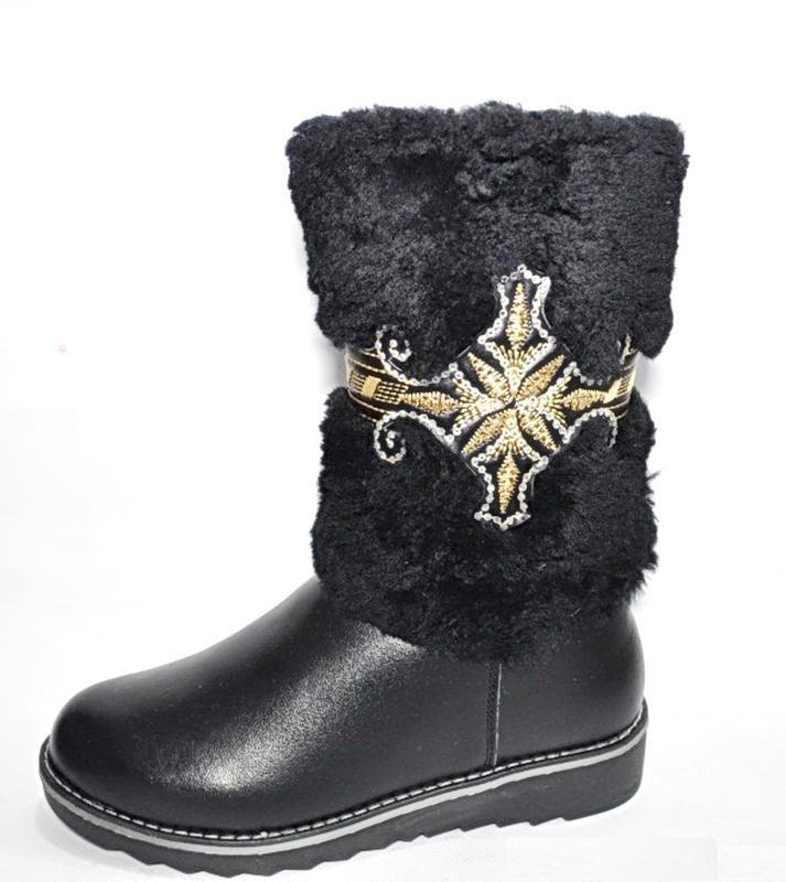 Сапоги зимние теплые с вышивкой черные 20.5см