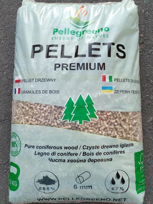 Пелети, паливні гранули, pellets Pellegreeno Premium.