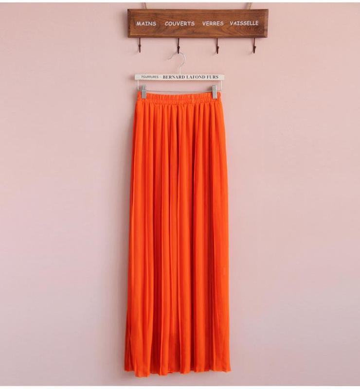 ✅красивая яркая юбка кислотно оранжевая полупрозрачный шифон