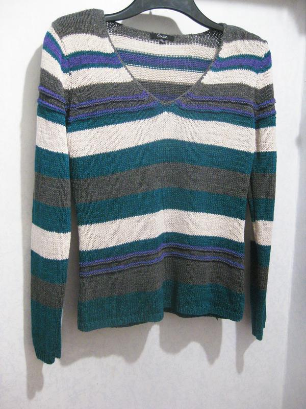 Джемпер кофта свитер в полоску белый серый синий