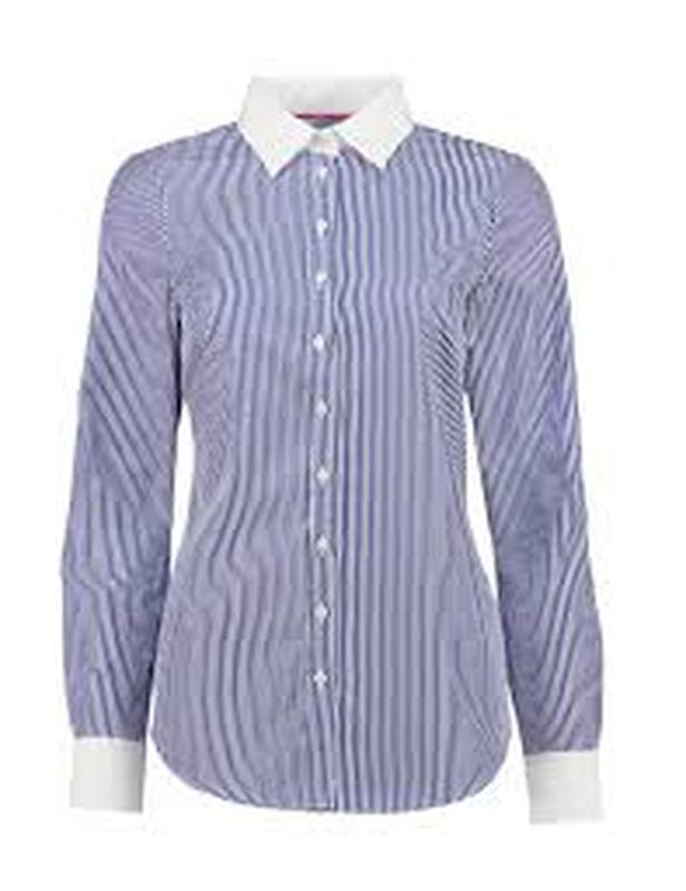 Рубашка цветная офисная белая фиолетовая в полоску женская дли...