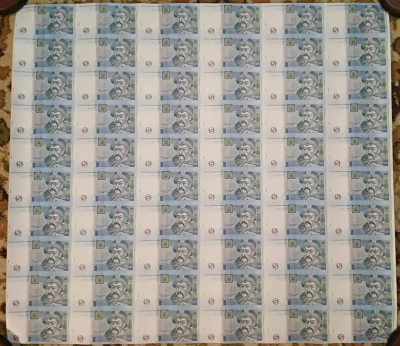 Неразрезаный лист 60 купюр 5 гривен 2015 Гонтарева UNC