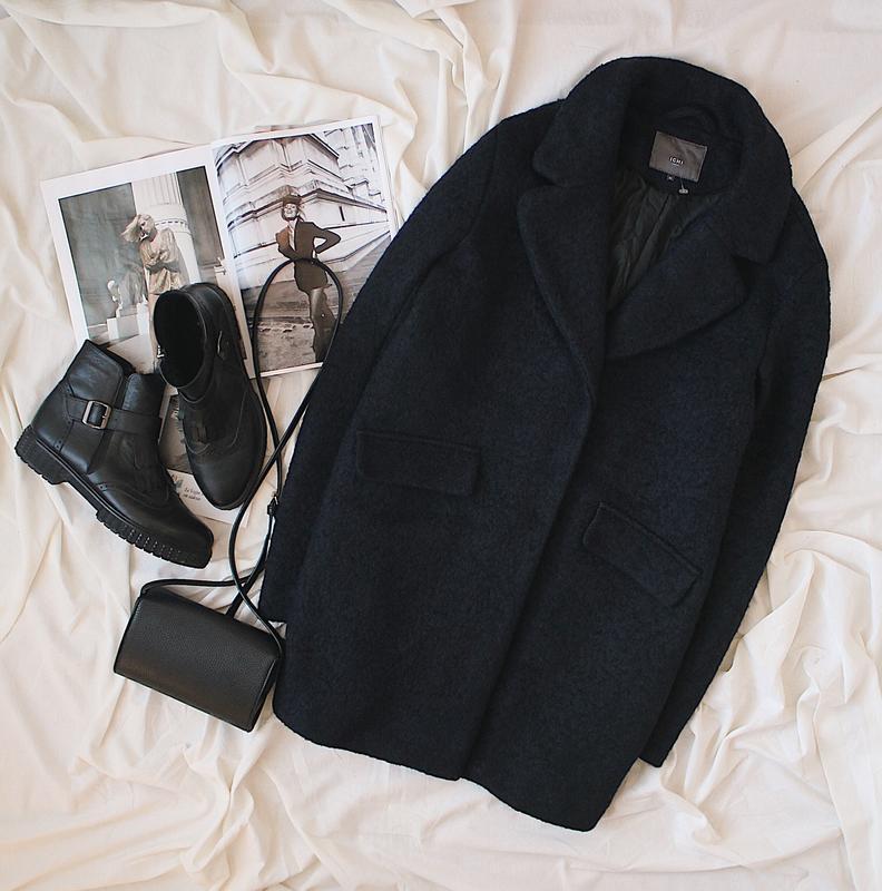 Шерстяное бойфренд/оверсайз пальто дорогого бренда ichi/шерсть