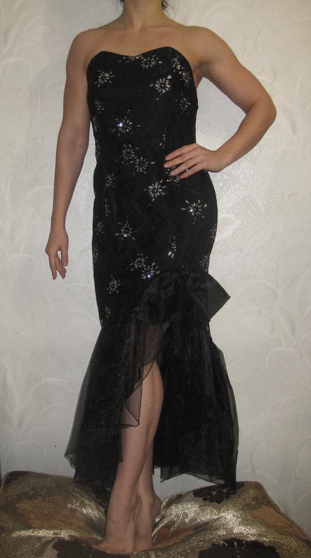 Платье euro fashion англия чёрное длинное макси бант блестящее...