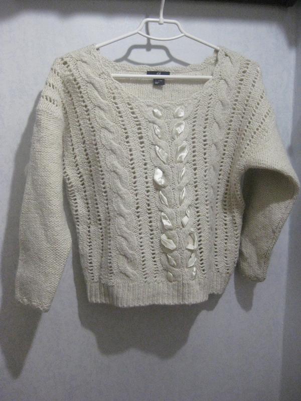 Толстый свитер кофта джемпер h&m акрил шерсть молочный белый в...