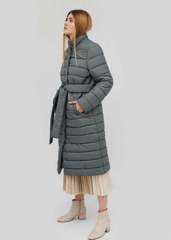 Куртка миди стёганая на поясе пуховик зима
