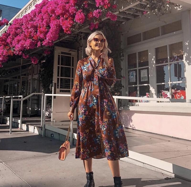 Платье миди в цветочный принт от zara