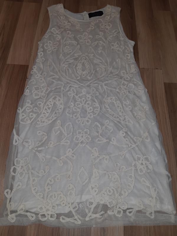 Нюдовое платье zara