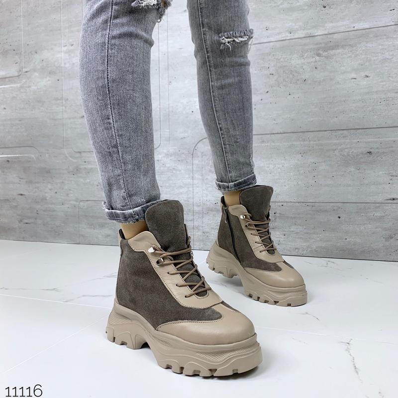 Стильные зимние ботинки из натуральной кожи и замши