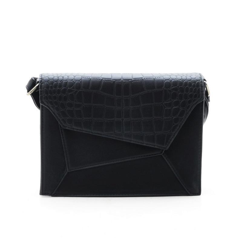 Черный клатч кросс боди сумка крокодил рептилия