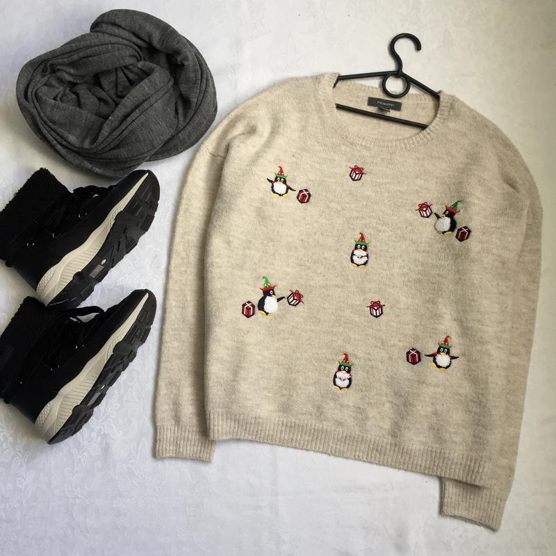 Теплый свитер с пингвинами primark 18-20---54-56 размер.
