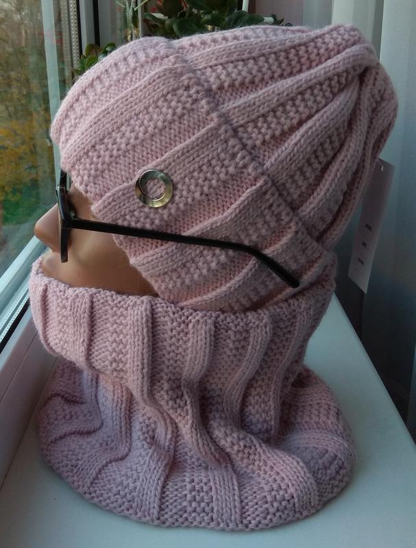 Новый модный комплект: шапка (на флисе) и снуд, розовая пудра