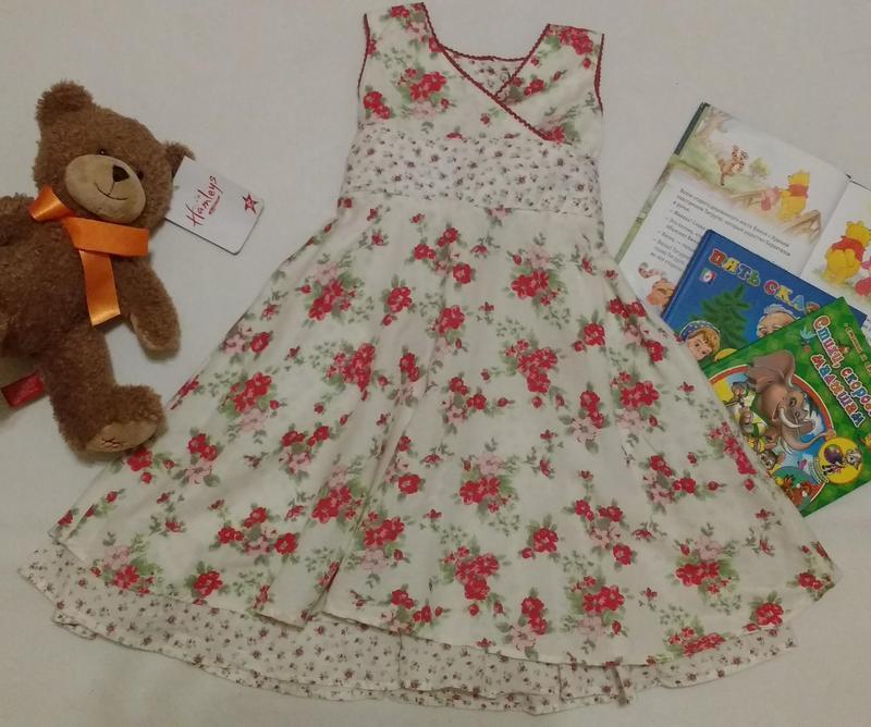 """Прекрасное двухслойное льняное платье с цветами """"next"""", 3-4 года"""