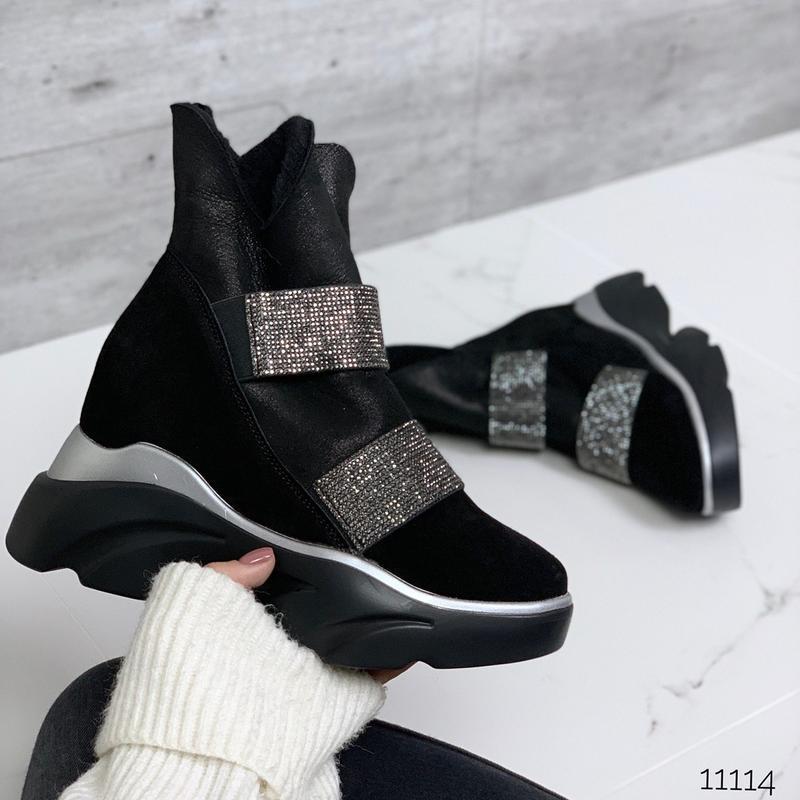 Крутые зимние ботинки из натуральной замши