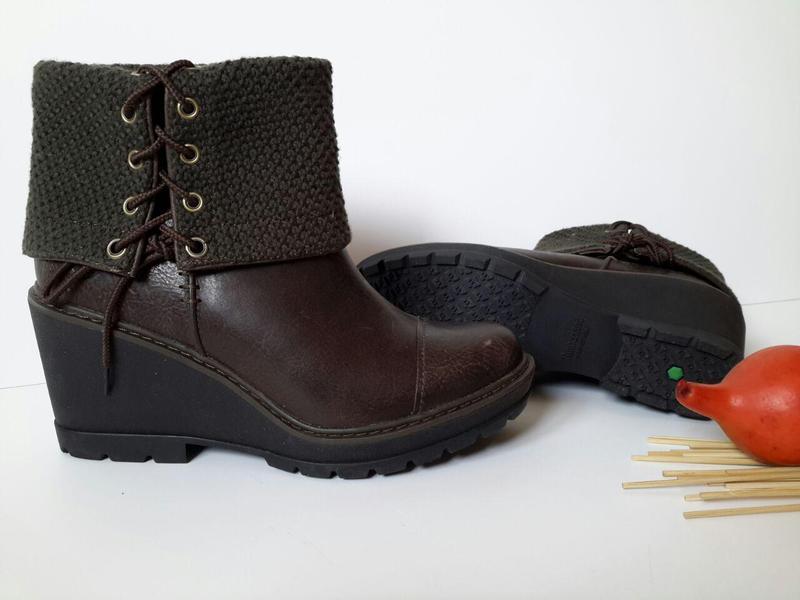 Стильные женские кожаные ботинки (полусапожки) на танкетке tim...
