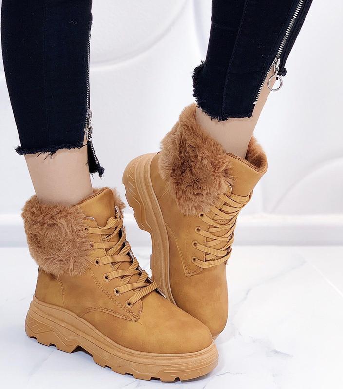 Новые шикарные женские зимние рыжие ботинки