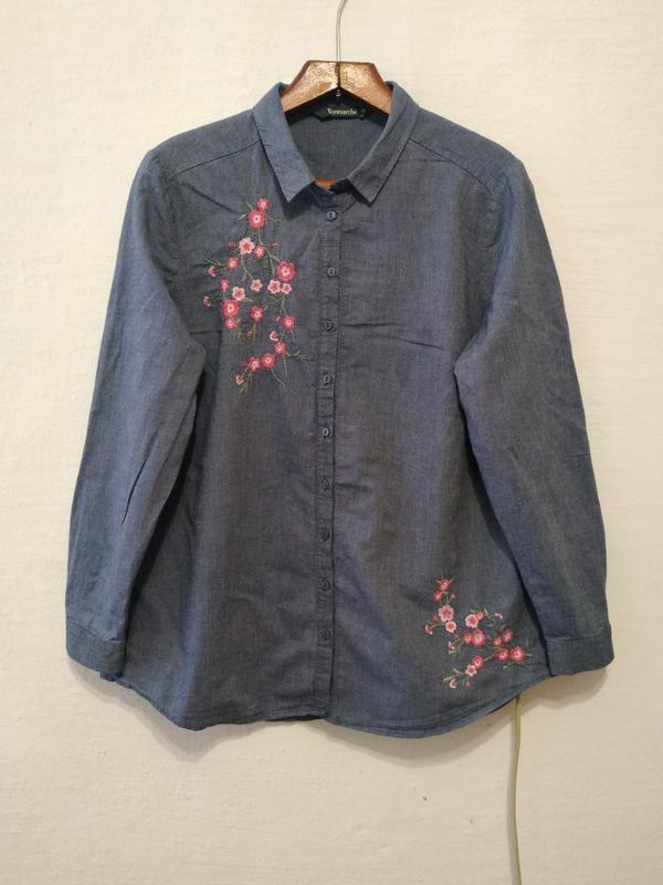 Стильная котоновая рубашка с вышивкой большого размера