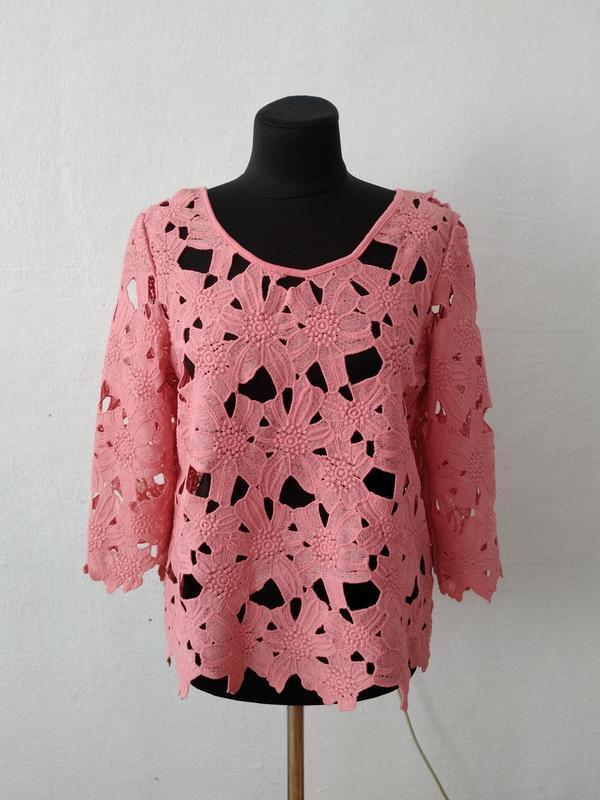 Стильная  яркая ажурная блуза