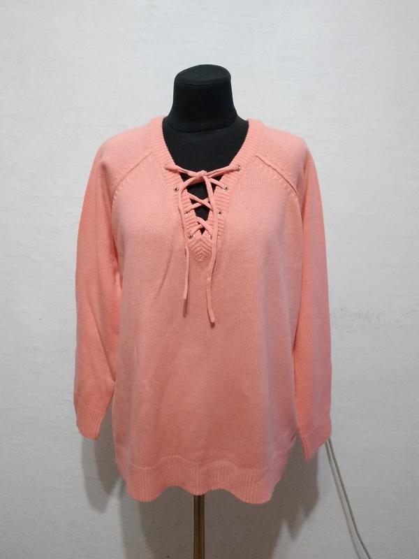 """Стильный свитер """" персик """" большого размера"""