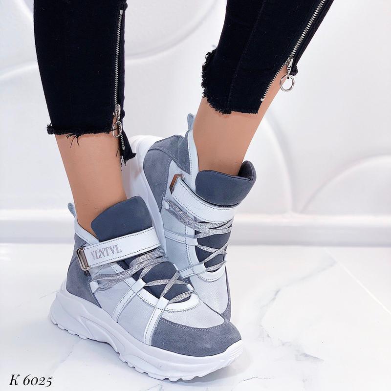 Зимние высокие кроссовки из натуральной кожи,зимние кожаные кр...