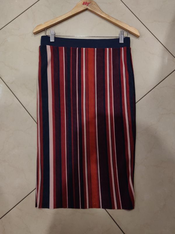 Плесированая прямая миди юбка в полосочку