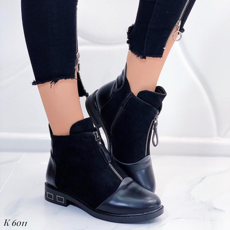Зимние женские ботинки на низком каблуке,шикарные чёрные ботин...