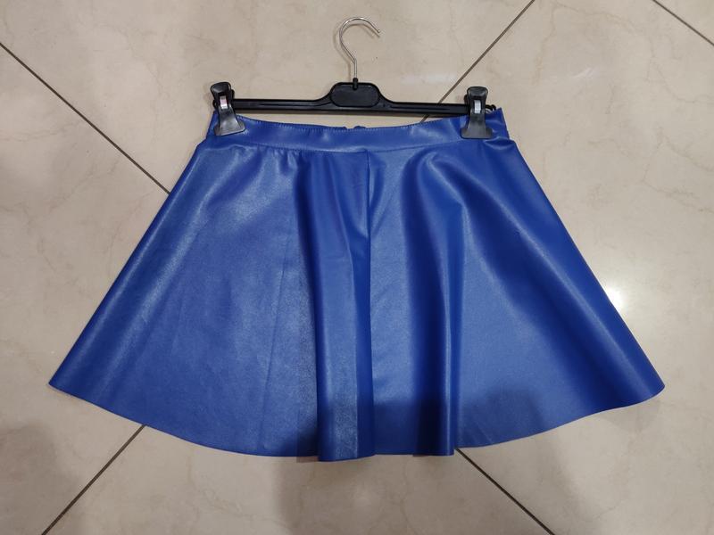 Синяя мини юбка эко кожа