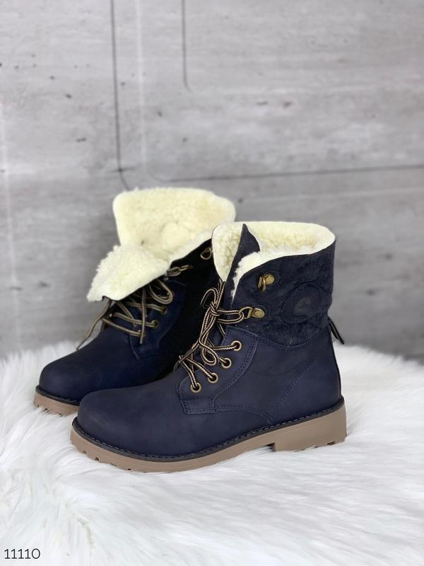 Стильные зимние ботинки синего цвета