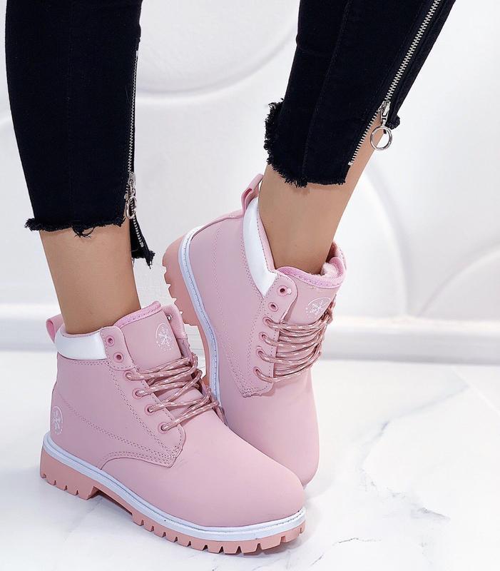 Новые шикарные женские розовые зимние ботинки