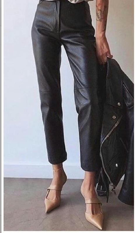 Кожаные брюки женские новые высока я посадка