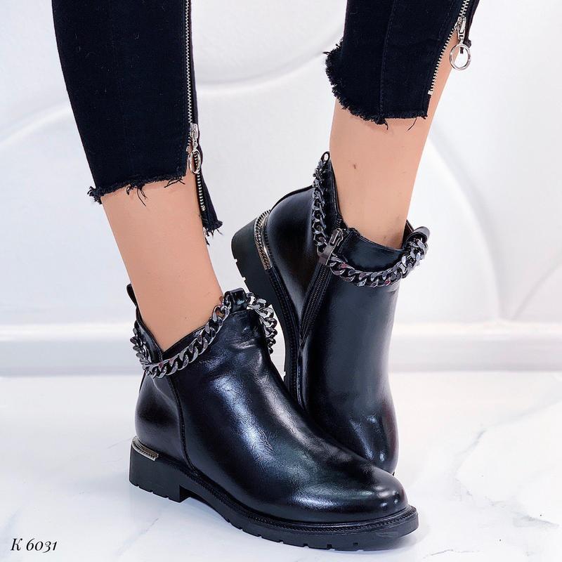 Шикарные зимние ботинки, стильные зимние ботинки на низком каб...