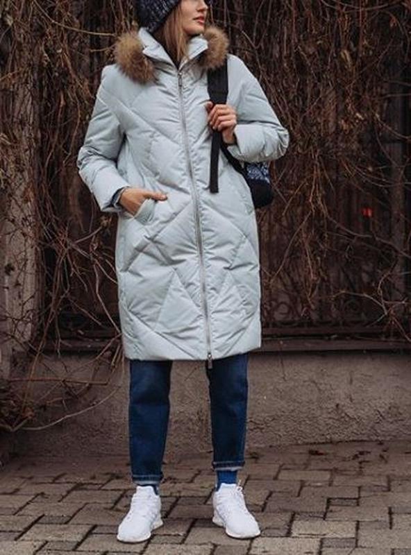 Светлая куртка зима пуховик натуральный mr520