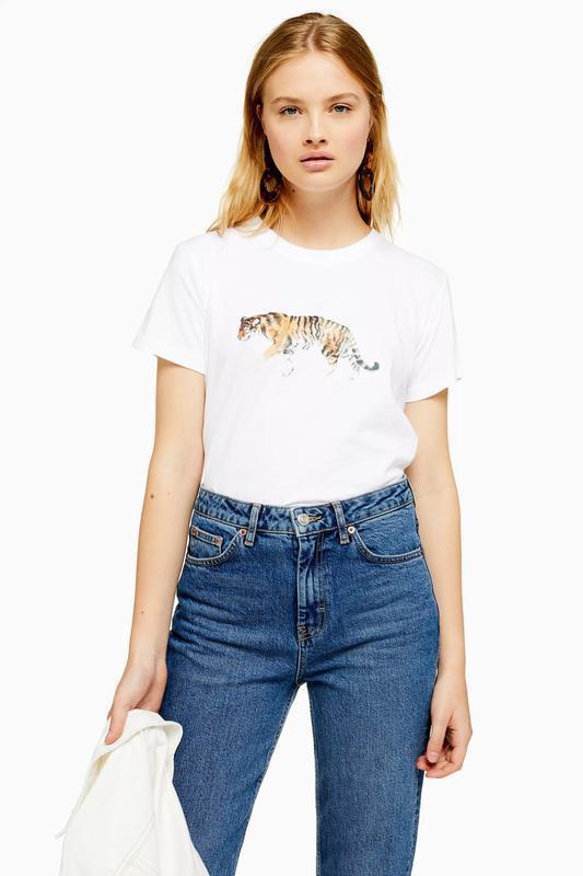 Новая футболка с принтом тигра topshop 2019 🐅 белая хлопковая ...