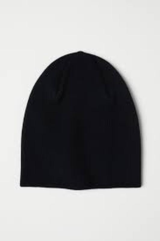 Шапка бини вязаная черная