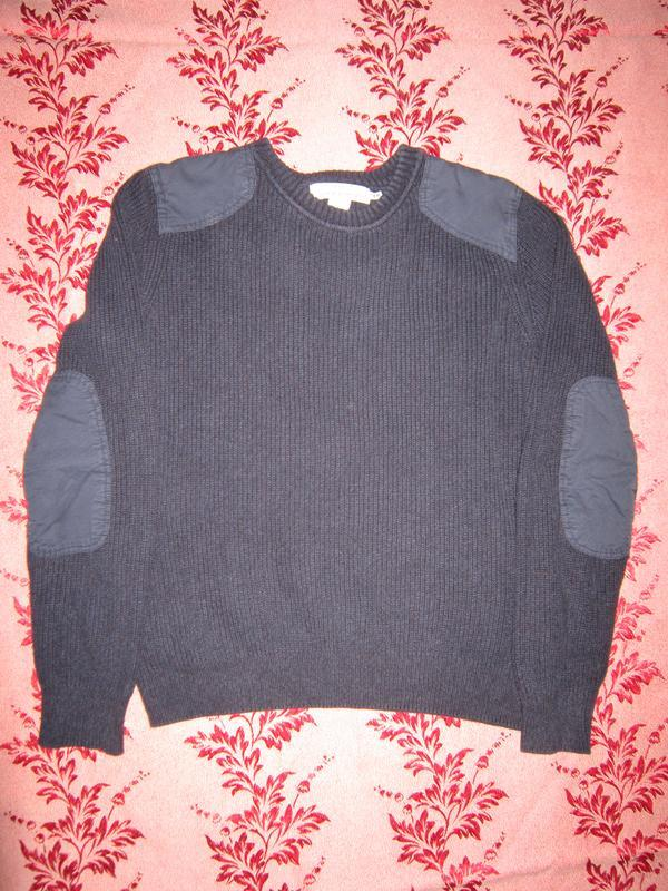 """Синий хлопковый свитер h&m с нашивками -""""латками"""" на плечах и ..."""