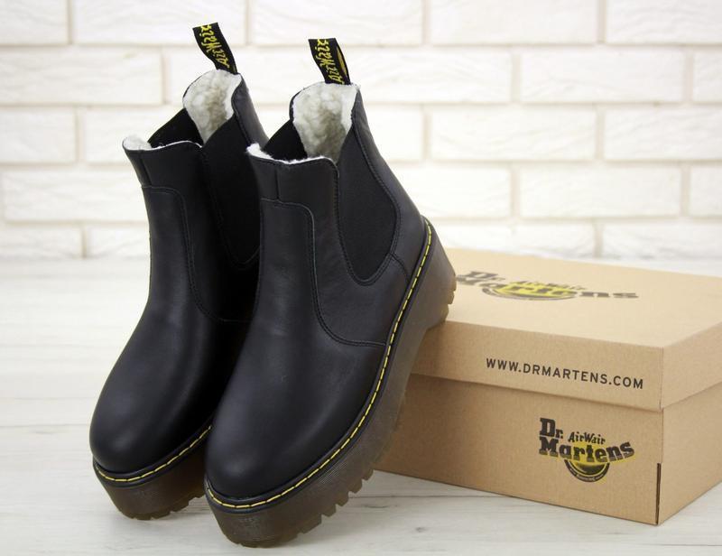 Женские зимние кожаные ботинки/ сапоги dr. martens platform ch...