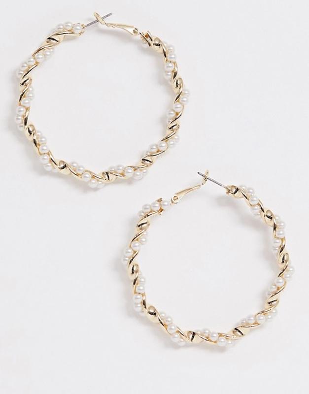 Серьги-кольца в виде спиральки asos design, украшены искусстве...