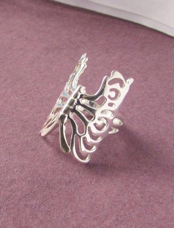 🏵ажурное кольцо бабочка в серебре 925, 18 р., новое! арт. 3413