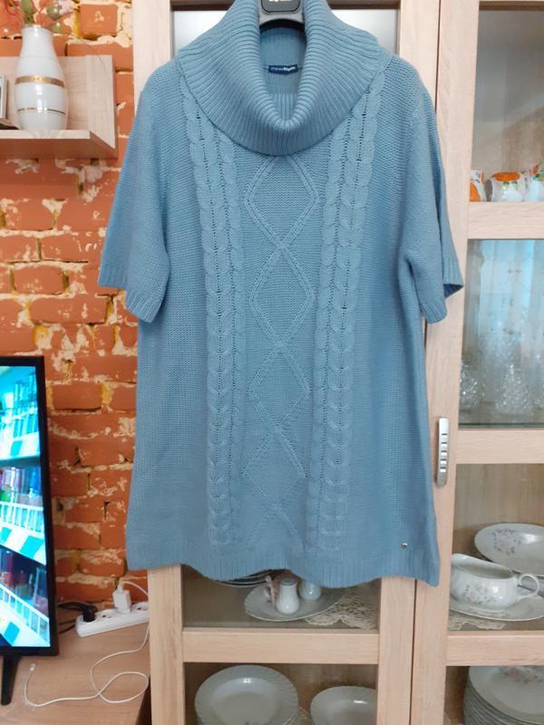 Теплое вязаное платье туника большого размера