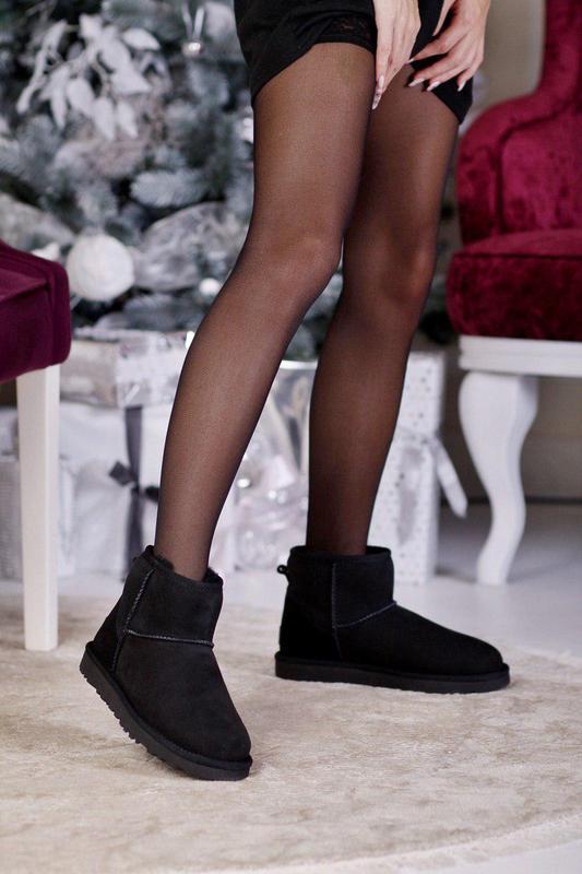 Ugg classic black! женские замшевые зимние угги/ сапоги/ ботин...