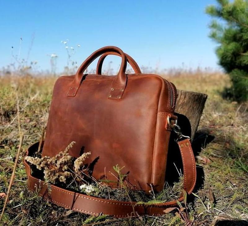 Кожаный мужской портфель месседж hand made italy