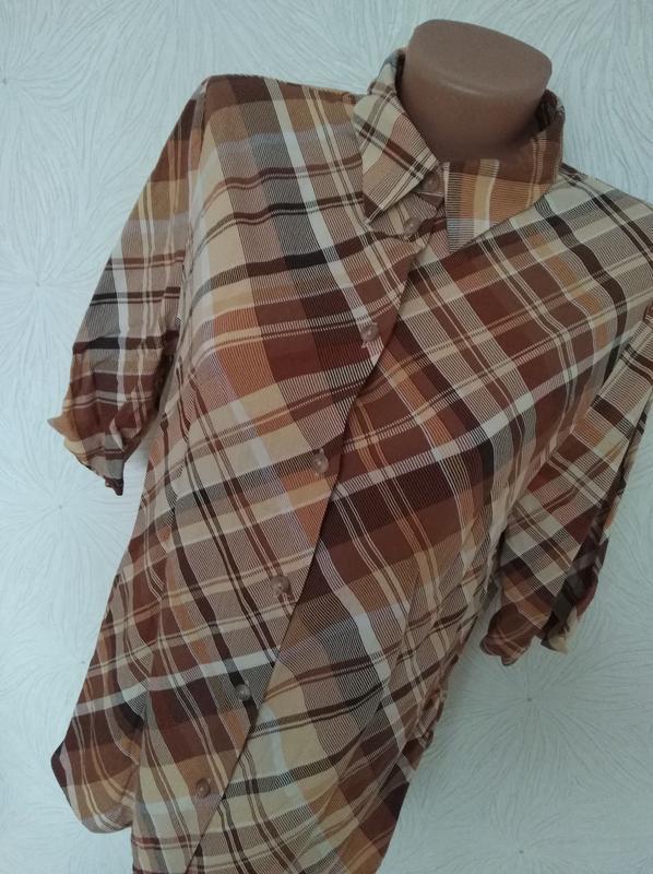Блуза рубашка в клетку вискоза 12-14 размер