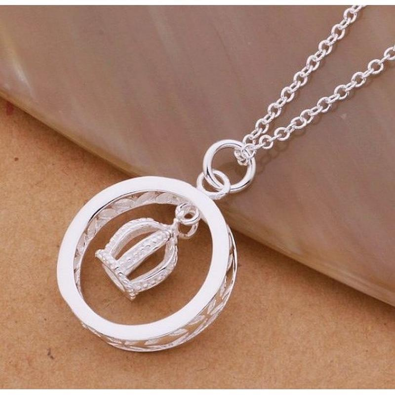 🏵подвеска на цепи в серебре 925 кулон корона в кольце, новый! ...