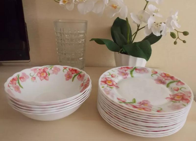 Новый набор посуды Орхидея из стеклокерамики, 18 предметов