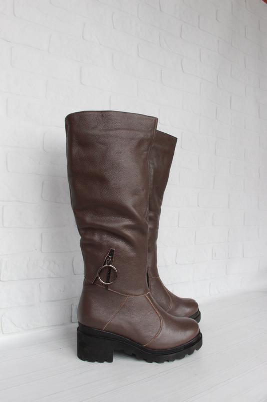 Зимние кожаные сапоги, сапожки 36, 37, 38 размера цвета капучино