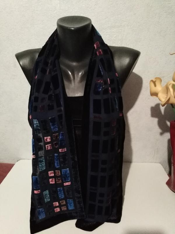 Мягкий двухслойный двухсторонний шарфик, бархат на основе нату...