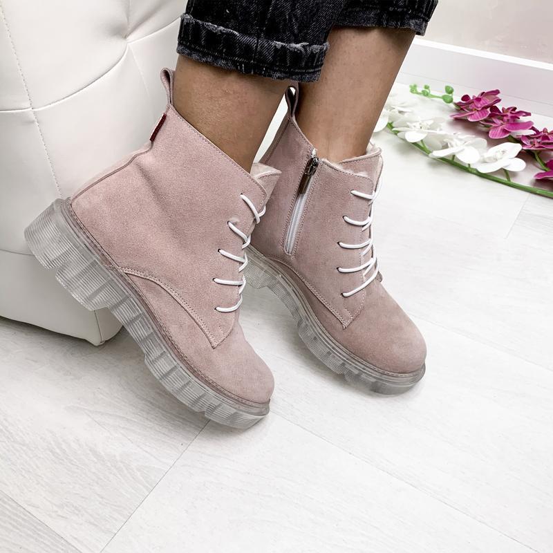 Натуральные замшевые ботинки пудра / деми зима